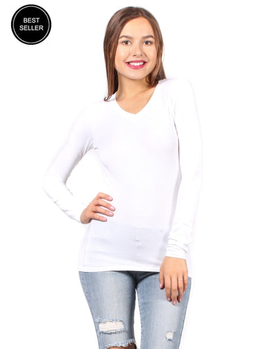 The Q Basics: Long Sleeve V-Neck Top White / S Tops