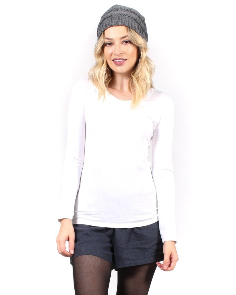 The Q Basics: Round Neck Long Sleeve Top S / White Tops