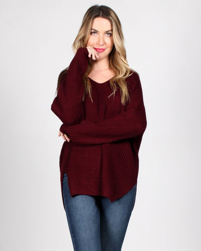 The Skies Are The Limit Knit Sweater Sm / Burgundy Tops