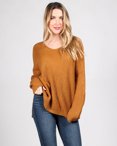 The Skies Are The Limit Knit Sweater Sm / Camel Tops
