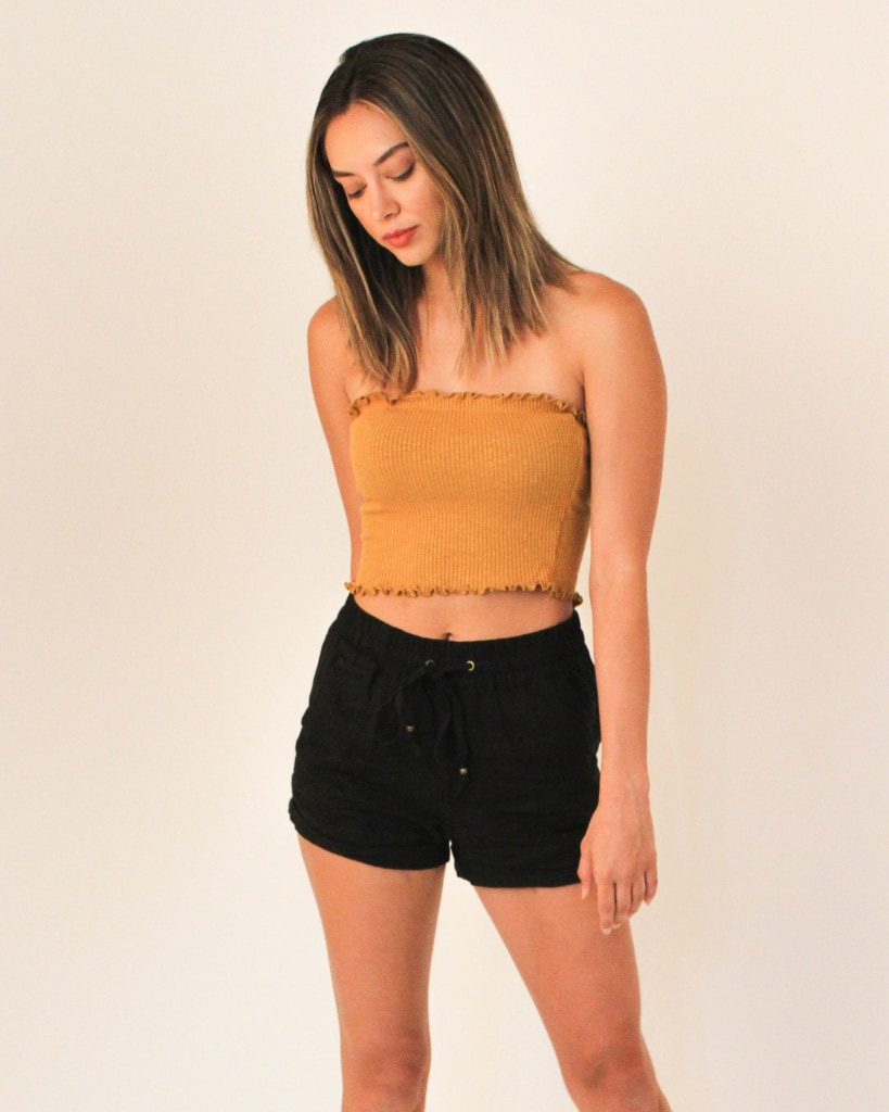 Fashion Q Shop Q Make You Smile Crop Tube Top (Mustard) T9449