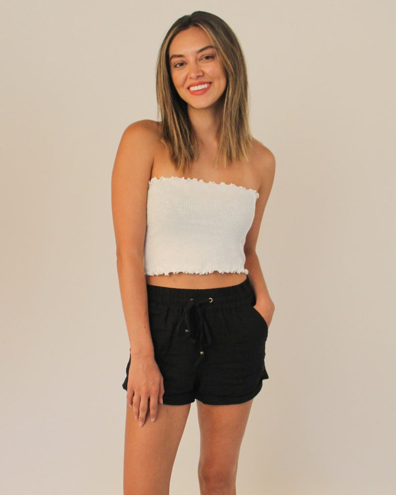 Fashion Q Shop Q Make You Smile Crop Tube Top (Off White) T9449