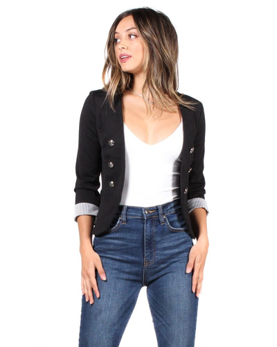 The Striped Tease Double Breasted Button Jacket S / Black