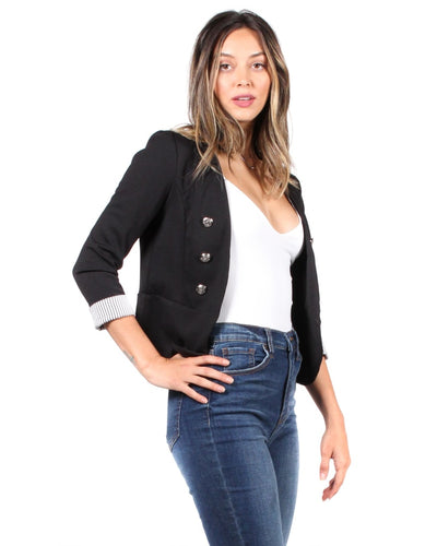 The Striped Tease Double Breasted Button Jacket