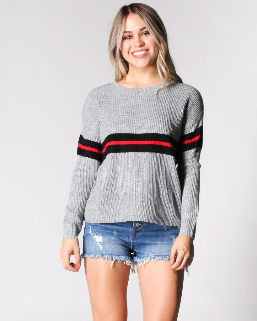 The Striped Zone Knit Sweater S / Grey