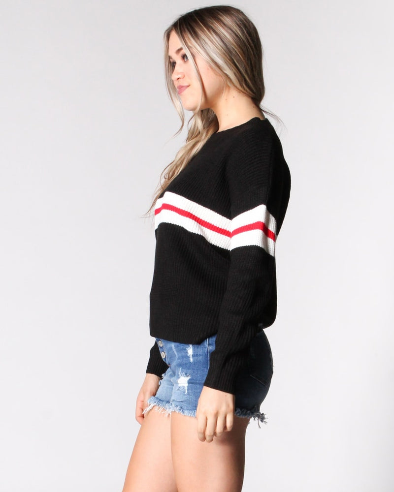The Striped Zone Knit Sweater S / Black