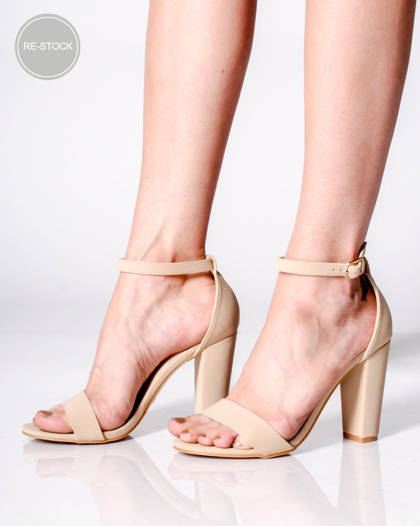 The Tampa Ankle Strap Heels Nude / 5 Shoes