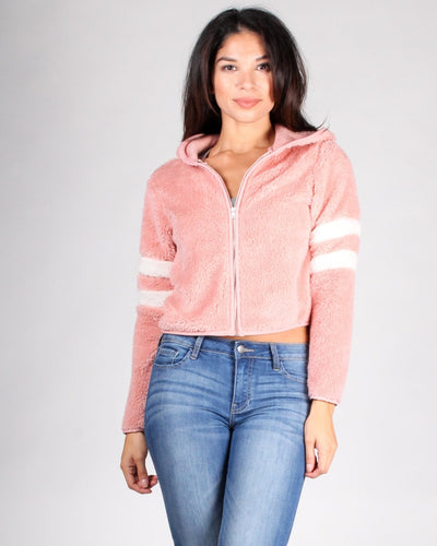 The Touch Me Softly Faux Fur Jacket S / Rose