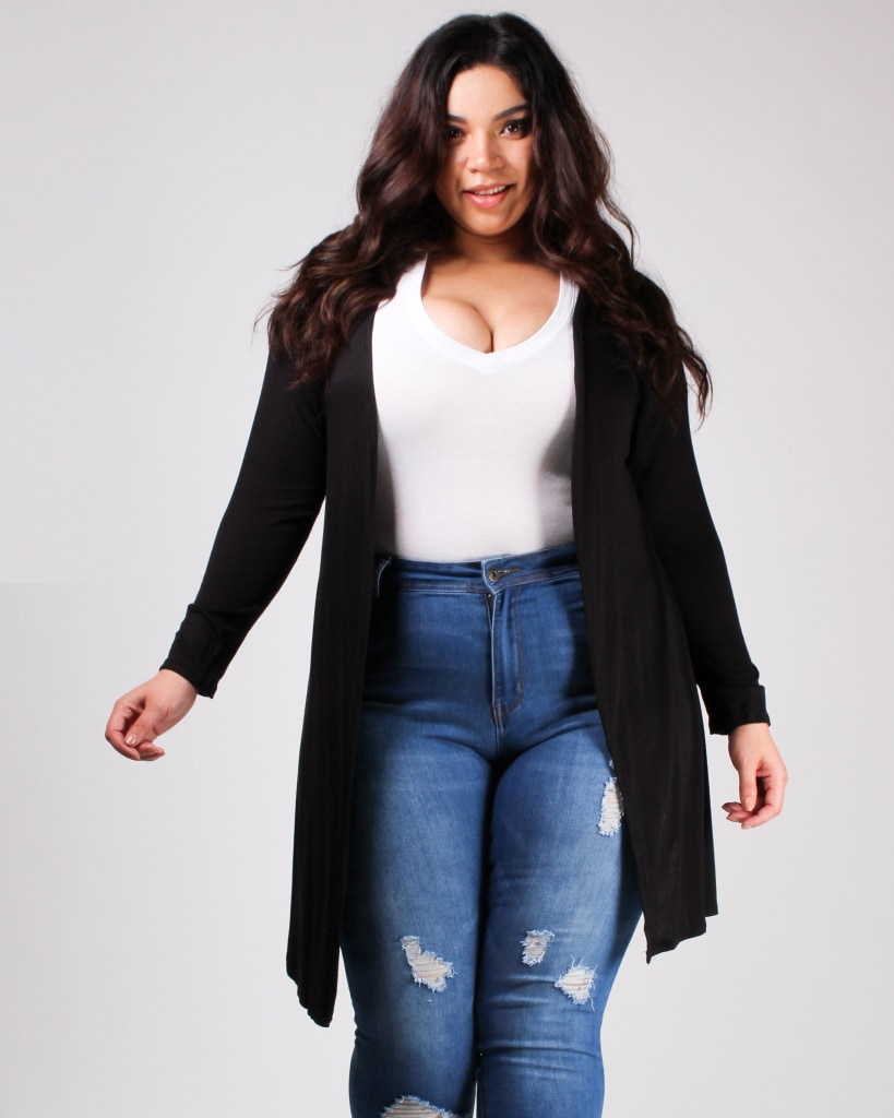 The Verve Of Life Cardigan Black / 1X Top