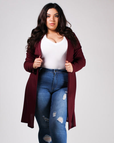 The Verve Of Life Cardigan Burgundy / 1X Top
