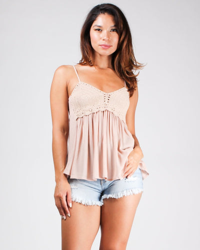 The Vie Boheme Boho Tank Taupe / S Tops