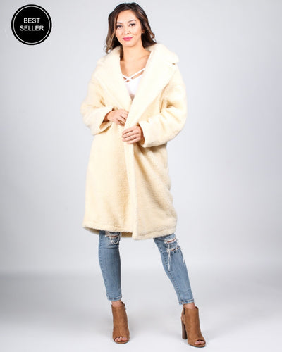 The Wools Of Engagement Teddy Coat S / Cream