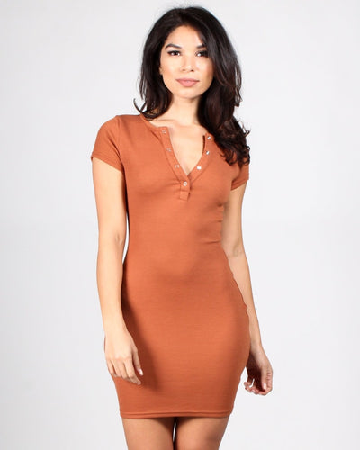 Tipping The Scales Bodycon Dress S / Rust Dresses