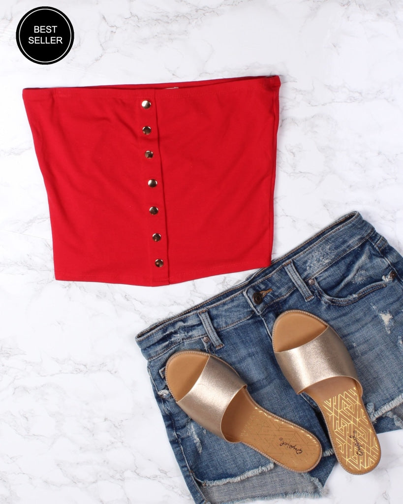Too Blessed Tube Top (Red) Red / S Tops