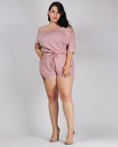 Try Everything Plus Romper Pink / 1X