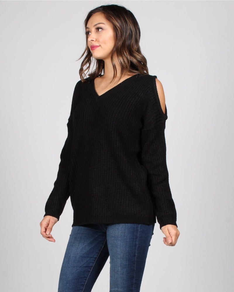 Turn Back Time Knit Sweater S / Black Tops