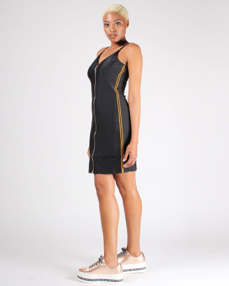 Unstoppable Zip-Up Bodycon Dress S / Black Dresses