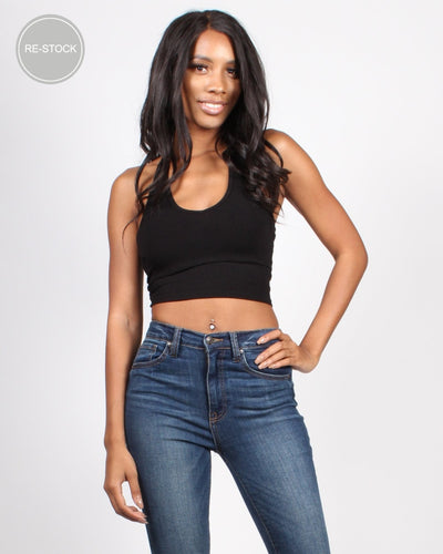 We Rise Crop Halter Top Black / S Tops