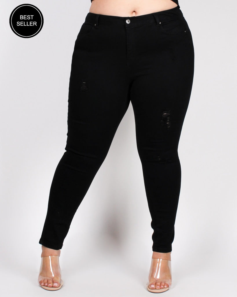What A Grand Adventure Plus Skinny Jeans (Black) Black / 14 Bottoms