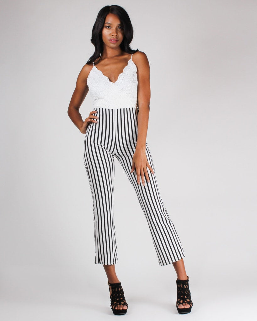 When In Doubt Wear Lacely Stripes Jumpsuit S / Ivory