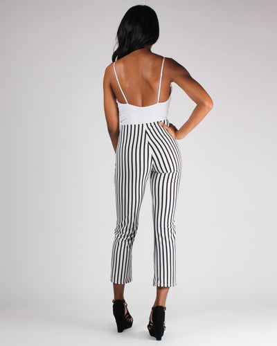 When In Doubt Wear Lacely Stripes Jumpsuit