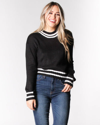 Where The Wild Stripes Are Knit Sweater S / Black And White Tops