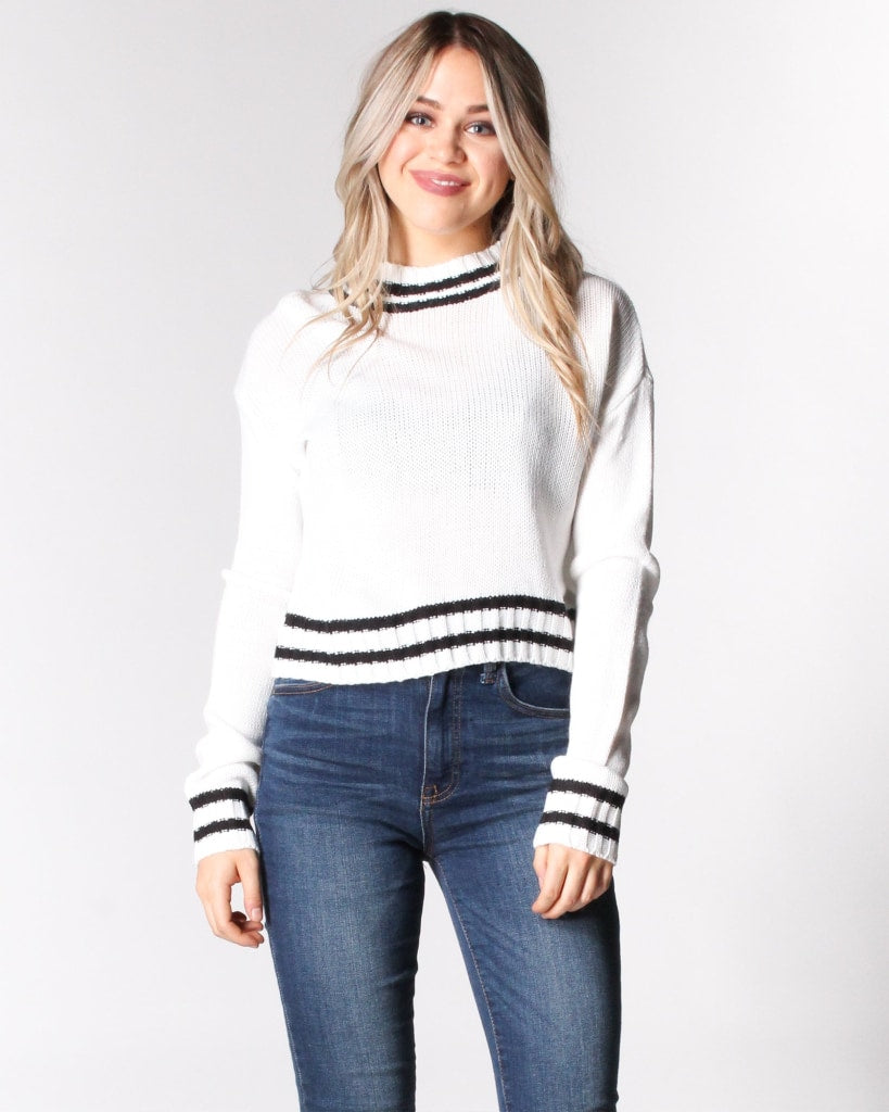 66a9ed167e4 Where The Wild Stripes Are Knit Sweater S   White And Black Tops