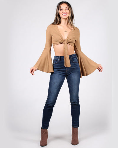 Womans World Bell Sleeve Crop Top