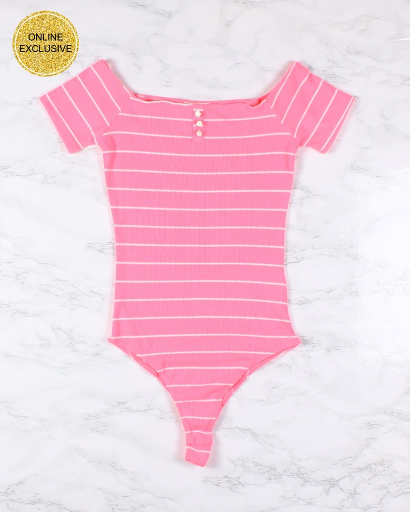 You Got A Body And Youre Naughty Striped Bodysuit (Pink) Pink / S Bodysuits