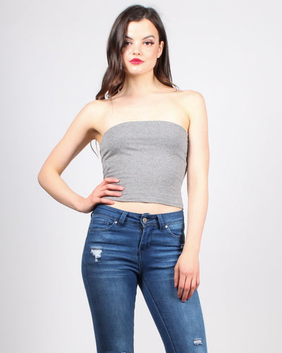 You Got Me At Hello Tube Top S / Grey Tops