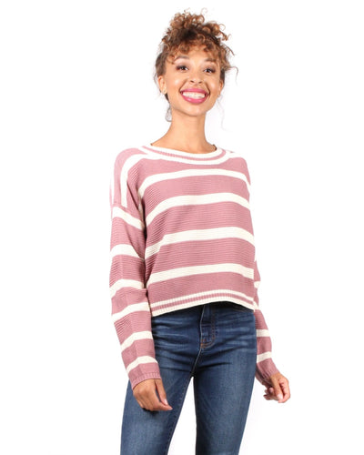 You Got Striped Sweater S / Mauve And Cream