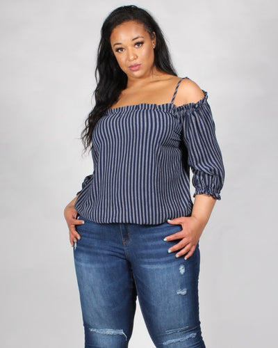 You Look So Wonderful Striped Off The Shoulder Plus Top 1X / Navy Tops