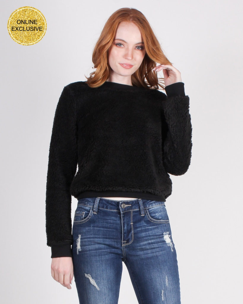 Youre Never Too Old Fur A Teddy Bear Sweater (Black) Black / S Tops