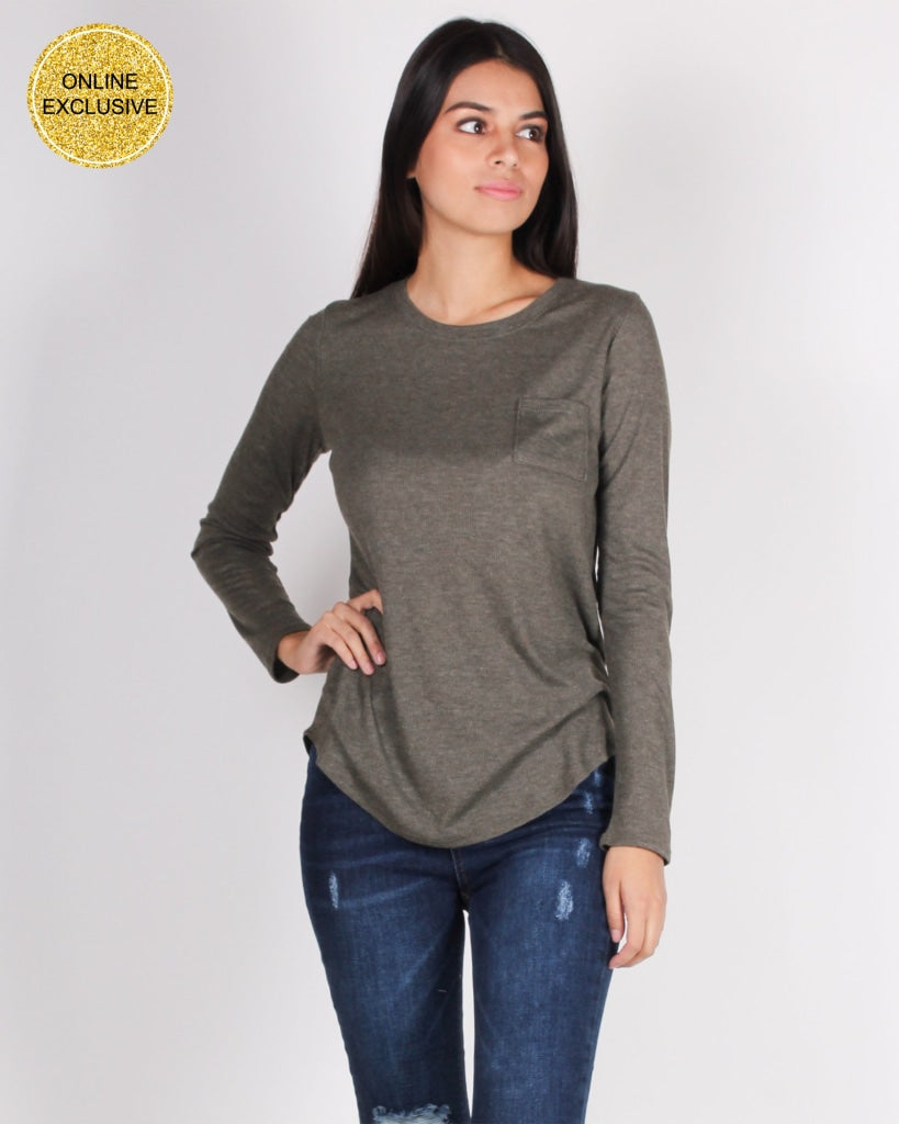 Youve Come This Far Long Sleeve Top (Dark Olive) Dark Olive / S Tops