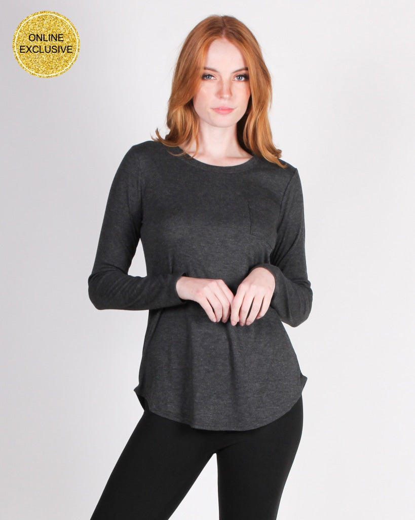 Youve Come This Far Long Sleeve Top (Heather Charcoal) Heather Charcoal / S Tops