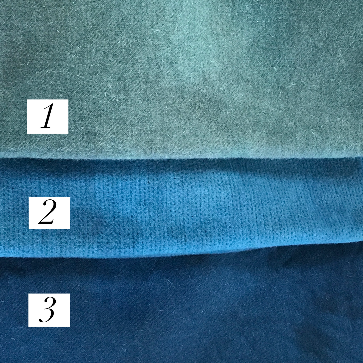 Blue Hand-Dyed Wool #1-3