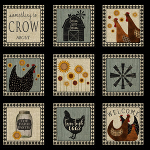 Multi Rooster Squares Panel # 3049B-99