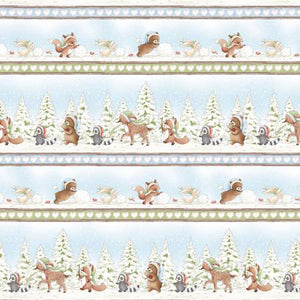 Mutli Winter Forest Friends Stripe
