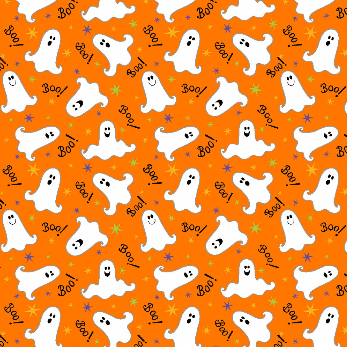 Orange Tossed Ghosts Glow in the Dark Fabric # 9541G-30