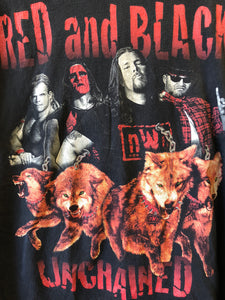 NWO Wolfpac Red & Black Unchained Tee sz XL