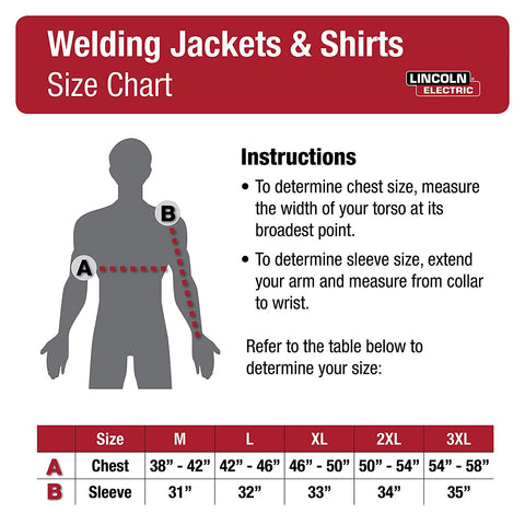 lincoln electric jacket size chart