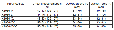 Lincoln Electric Jacket Sizing Chart