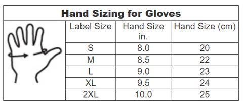 Lincoln Electric Glove size chart