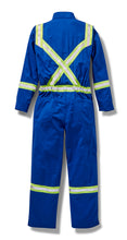 rasco fr, coveralls, reflective trim, royal blue, reverse