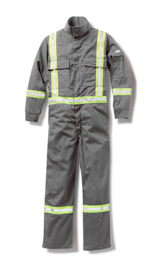 rasco fr, coveralls, reflective trim, grey