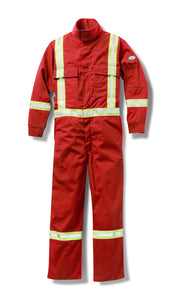 rasco fr, coveralls, reflective trim, red