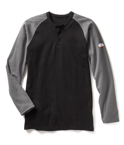 rasco fr, henley shirt, black and grey