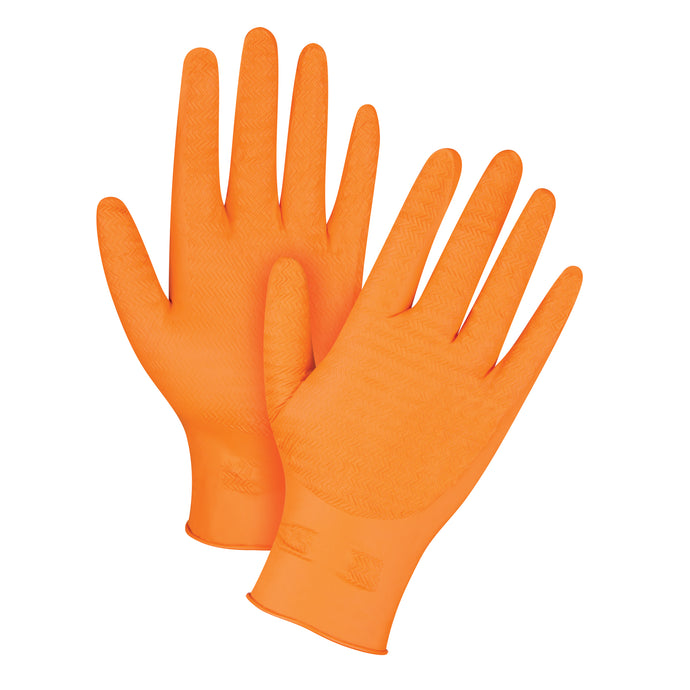 Heavyweight Ultra Gripper Orange Nitrile Gloves