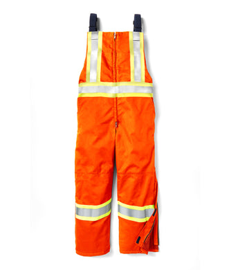 rasco fr, insulated hi viz bib overall, orange,