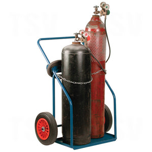 kleton, hd dual gas cylinder cart, with bottles